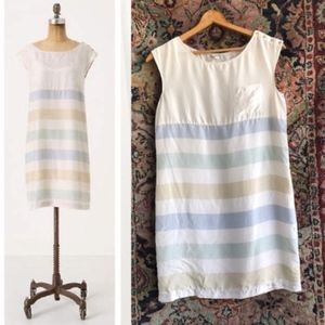 Anthro Odile Striped Shift Silk Dress Button Detai
